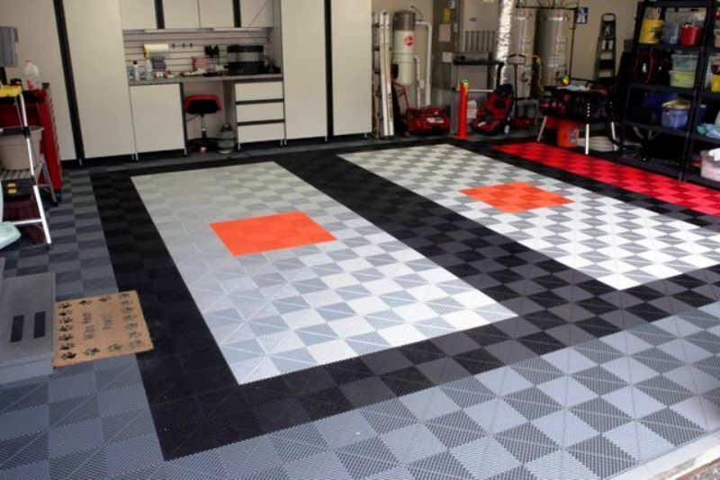 Garage flooring floor tiles custom closets and for Custom floor design