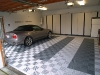 Gray garage cabinets and flooring